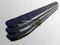 Nissan X-Trail 2015 Пороги овальные с накладкой 120х60 мм